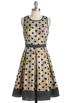 Mingle You Out Dress. As you socialize your way through the soiree, the party host pauses to announce your dotted dress by Ryu! #multi #modcloth