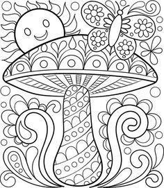 Free Coloring Calendar Toadstool Page by Thaneeya:
