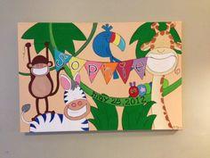 Personalized Custom Safari Nursery Painting for Sophie. #babygirlsroom #artfornursery #monkey #toucan