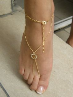 SLAVE ANKLET HAREM - GOLD EP with Swarovsky... YELLOW - ONE PAIR   blucky - Jewelry on ArtFire