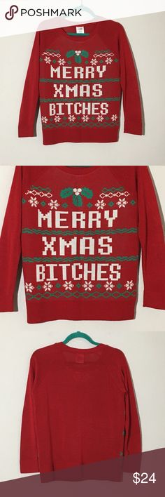 """Ugly Christmas Sweater Merry Christmas Bitches M Women's Hybrid Apparel """"Merry Christmas Bitches"""" red ugly Christmas sweater Sz M measurements 19.5"""" armpit to armpit, 25"""" shoulder to hem, 24"""" sleeveless  Excellent condition no flaws Sweaters Crew & Scoop Necks"""
