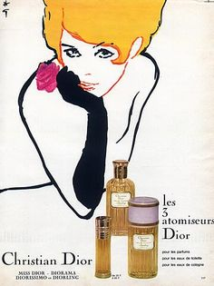 Christian Dior (Perfumes) 1966 Diorling, Atomizer, Gruau Vintage Makeup Ads, Perfumes Vintage, Vintage Dior, Vintage Beauty, Vintage Fashion, Perfume Packaging, Perfume Ad, Antique Perfume Bottles, Parfum Dior