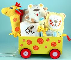 Adorable Newborn Giraffe Plush Welcome Wagon by Baby Gifts-N-Treasures #BabyGifts #Newborn #BabyShowerGifts