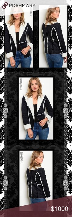 """ITS HERE🆕LOVE THIS Mega Soft Fleece Suede Jacket New black and white long sleeve open front fleece inner suede jacket. Color: Black w/white Trim Manufactured in China  Material: 100% Polyester Sizes Avail: Small, Medium, Large  Approx measurements taken from the Small: Bust: 36"""" Waist: 32"""" Length: 25""""  💠💠PRICE FIRM UNLESS BUNDLED💠💠 ⭐️⭐️SORRY NO TRADES AND LOWBALL OFFERS WILL BE IGNORED ⭐️⭐️ 🌺🌺ADDITIONAL MEASUREMENTS AVAIL UPON REQUEST (ONLY IF SERIOUS PLEASE🌺🌺 Glam Squad 2 You…"""