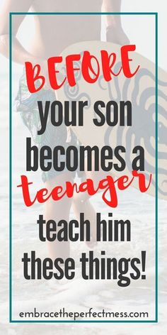 this is a great list of things to teach your son before he's a teenager. this is a great list of things to teach your son before he's a teenager. Kids 13 things to teach your son before he is a teenager Parenting Teenagers, Parenting Teens, Gentle Parenting, Parenting Advice, Parenting Classes, Foster Parenting, Parenting Quotes, Parenting Styles, Discipline Teenagers