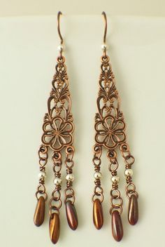 Antique Copper Plated Brass Filigree Chandeliers for earrings or necklace creations by UnkamenSupplies on Etsy, $4.00