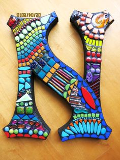 Custom mosaic initials created by Tina @ Wise Crackin' Mosaics