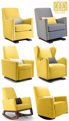 Monte modern Nursery Furniture Glider Rocker Yellow ... Someone buy me this for my baby shower @lindseyfrost