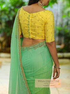 PV 4255 : Yellow and shaded green. <br> Price : Rs <br> Shaded marble chifffon sari in beautiful colours of green and PV 4255 : Yellow and shaded green. <br> Price : Rs <br> Shaded marble chifffon sari in beautiful colours of green and Indian Blouse Designs, Blouse Back Neck Designs, Simple Blouse Designs, Stylish Blouse Design, Silk Saree Blouse Designs, Blouse Patterns, Dress Designs, Latest Blouse Designs, Beautiful