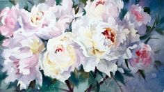 """Peony Giants"" watercolour 40""X 25"" by Trevor Waugh"