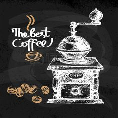 Schizzo disegnato a mano di fondo caff� d'epoca. Illustrazione vettoriale. Menu design per bar e ristorante photo