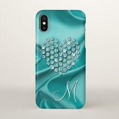 Custom Silk Waves Pattern Faux Diamonds Heart iPhone X Case - artists unique special customize presents