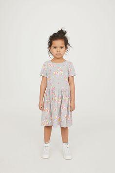 Short-sleeved jersey dress - Grey marl/Apple - Kids | H&M GB