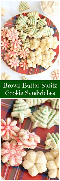 Brown Butter Spritz Cookie Sandwiches with Caramel Buttercream!