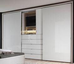 Bedroom Built In Wardrobe, Bedroom Built Ins, Bedroom Closet Design, Tv In Bedroom, Wardrobe Tv, Indian Bedroom Design, Black And Grey Bedroom, Wardrobe Door Designs, Bedroom Cupboard Designs