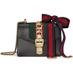Gucci Sylvie Leather Shoulder Bag - Black (€2.220) ❤ liked on Polyvore featuring bags, handbags, shoulder bags, kirna zabete, satchels, satchel handbags, handbag satchel, satchel bag, leather shoulder bag and leather purse