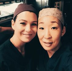 Ellen Pompeo and Sandra Oh on their last day of filming together, Grey's Anatomy season 10