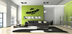 Alien UFO Space Ship Wall Decal Bedroom Sticker Wall Art Outdoor Wall Decoration 12 x 18