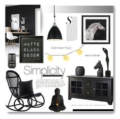 """Matte Black Decor"" by alexandrazeres ❤ liked on Polyvore featuring interior, interiors, interior design, home, home decor, interior decorating, Sika, Bloomingville, Mancinelli and NOVICA"