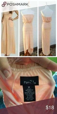 {final sale} Rue 21 Coral Strapless Maxi Dress New without tags . Stretchy waist & top bands . Stretchy . Lined top . Modeled in inspiration only.   #111004 Rue 21 Dresses Maxi
