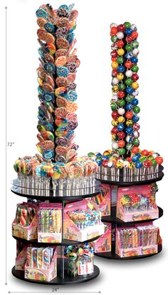 PERFECT addition to any floor plan. The 6′ Sucker Stand showcases over 200 lollipops! It's small 24″ footprint allows it to fit just about anywhere. It's 360 degree design promotes product from every angle. Ideal for Candy Stores, C-Stores and Gift Shops.