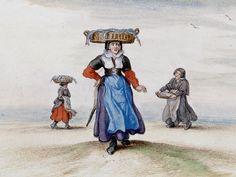 Adriaen Van De Venne, (Watercolor) Three Fishwives, 1625