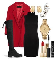 """Red Christmas"" by online-saberviver on Polyvore featuring Zara, Accessorize, Lacoste, Burberry, NARS Cosmetics and de Grisogono"