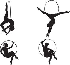 Four silhouettes of circus acrobats performing aerial lyra act. Aerial Hoop, Aerial Arts, Aerial Silks, Circus Acrobat, Circus Art, Circus Illustration, Music Drawings, Aerial Images, Body Drawing