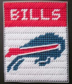 Buffalo Bills tissue box cover plastic canvas by AuntCCcreations Plastic Canvas Coasters, Plastic Canvas Ornaments, Plastic Canvas Tissue Boxes, Plastic Canvas Christmas, Plastic Canvas Crafts, Free Plastic Canvas Patterns, Football Crafts, Yarn Storage, Tissue Box Covers