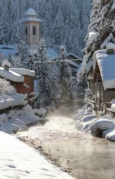 The river in Champoluc, Val d'Ayas, Aosta Italia. Places Around The World, Around The Worlds, Winter Scenery, Winter Magic, Snow Scenes, Winter Pictures, Winter Beauty, Toscana, Winter Landscape