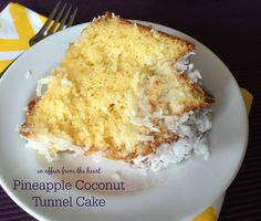 Moist pineapple bundt cake, with a sweet coconut center, drizzled in pineapple glaze and sprinkled with coconut.