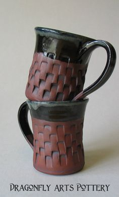 Hand Carved Stoneware Mugs by Barbarah Robertson