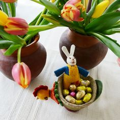 chocolate, tulips, and our fun and whimsical hen cup holding lots of treats!!! easter breakfast never sounded so good. (I think that we will make lavender pancakes)