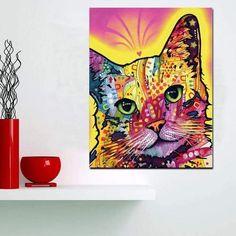 Tableau Pop Art Chat Psychédélique Framed Canvas Prints, Canvas Wall Art, Wall Art Prints, Abstract Watercolor, Abstract Wall Art, Images Pop Art, Tableau Pop Art, Butterfly Painting, Cat Colors