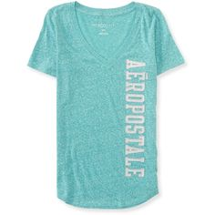 Aeropostale Vertical Aero Boyfriend V-Neck Graphic T ($7) ❤ liked on Polyvore featuring tops, t-shirts, deco turq, cotton t shirts, graphic tank tops, v neck t shirts, graphic tees e v-neck tops