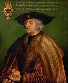 Maximilian I (22 March 1459 – 12 January 1519) was King of the Romans (also known as King of the Germans) from 1486 and Holy Roman Emperor from 1493 until his death, though he was never crowned by the Pope, as the journey to Rome was always too risky. He was the son of Frederick III, Holy Roman Emperor , and Eleanor of Portugal . He ruled jointly with his father for the last ten years of his father