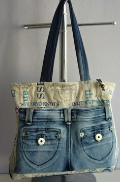 Upcycle, recycle, denim, pockets, purse, bag, cute details, feminine, tote, crafting idea, sewing tips, #DIY