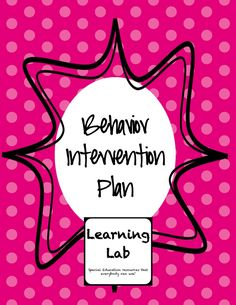 Make writing BIPs easy with this template! I have also included an example of one filled out for an actual student (no identifying information). Special education. Behavior intervention plan