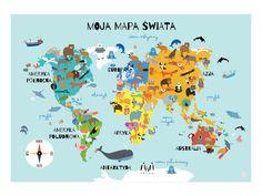 Kolorowa mapa świata po polsku, plakat 70x50 cm - AdaAndMum - Plakaty dla dzieci