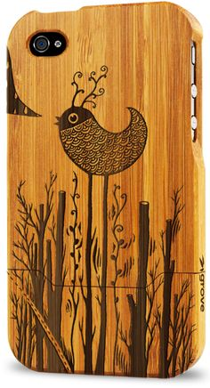 "iPhone 4 bamboo case (""Birdland"" by Sven Palmowski)"