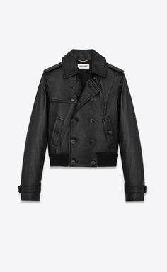 YSL EDIT - qJacket in grained lambskin with trench coat detailing, Rear view Designer Trench Coats, Work Week, Designer Clothing, Rear View, Dressing Room, Ysl, Ready To Wear, Saint Laurent, Leather Jacket