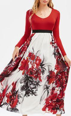 14e07065042 V Neck Floral Empire Waist Maxi Dress Sammy Dress