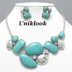 Chunky Western Silver Turquoise Crystal Fashion Jewelry Necklace Earrings Set