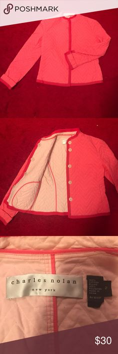 Adorable vintage Charles Nolan jacket! This adorable Hot pink Charles no one jacket is complete with white chevron stitching! Gently worn with no flaws! charles nolan Jackets & Coats