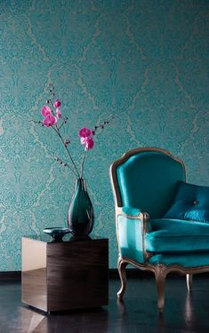 Wallpaper, chair and vase, nice example of modern and antique home decor design aqua teal turquoise