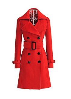 women trench cashmere slim winter warm coat long wool jacket outwear with belt Double Breasted Coat, Vintage Coat, Warm Coat, Jacket Style, T 4, Look Fashion, Red Fashion, Fashion Women, Winter Fashion