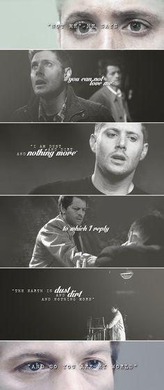 Dean + Castiel: You are my world. #spn #destiel