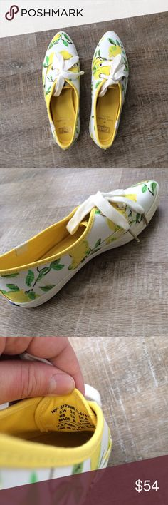 Keds for Kate Spade (lemon pattern) Gently used (excellent) condition! Worn twice. Keds for Kate Spade lemon pattern shoes. Very cute for spring! Size 5 1/2. Offers welcome! kate spade Shoes