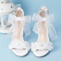 Elegant White Summer Wedding Shoes 2018 Lace-up Buckle Bow Pearl Rhinestone 7 cm Thick Heels Open / Peep Toe Wedding Heels, Wedding High Heels, Wedding Boots, Wedge Wedding Shoes, Thick Heels, Chunky Heels, Fancy Shoes, Me Too Shoes, Bow Shoes, Shoes Sneakers