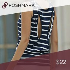 Navy and White Striped Tank Very cute unique tank with hollowed out back. Soft Cotton/Rayon blend material. Tag displays a size larger than the actual fit. Please see measurements below:  Small - Bust: 34.65 inches, Length: 24. 5 inches  Medium - Bust: 36 inches, Length: 25 inches   Large - Bust: 37.80 inches, Length: 25 inches   NO TRADES Tops Tank Tops